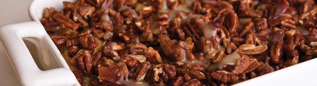 Sweet Potato Bread Pudding with Maple Pecan Crunch
